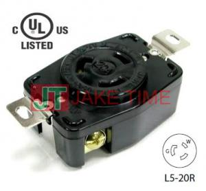 NEMA L5-20R Locking Type Receptacle, 125V AC/20A Current Rating, get UL/cUL Approved, with PC Body