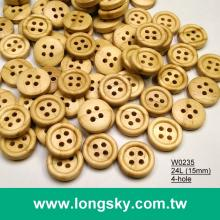 (#W0235) 18L 4 hole round natural wooden craft shirt button