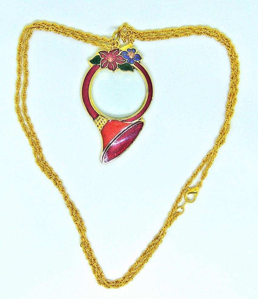magnifier-cloisonne magnifier- cloisonne french horn magnifier necklace-1