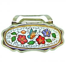 lipstick holder with mirror for purse | cloisonne lipstick accessory with mirror for purse