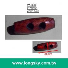 "(#W0386) 1"" long red-brown two hole natural wood toggle"