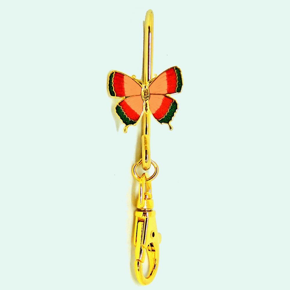 custom key chains-enamel key chain-cloisonne hook style key chain-short-butterfly
