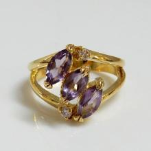 Gemstone Amethyst Marquise Ring